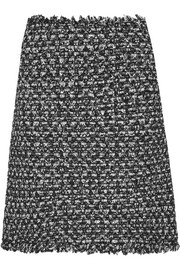 Sequin-embellished frayed tweed mini skirt
