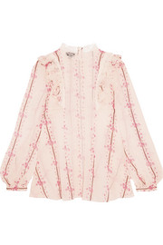 Guipure lace-trimmed printed silk-chiffon blouse