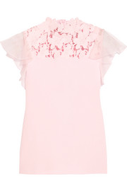 Giambattista Valli Silk-organza and guipure lace-trimmed jersey top