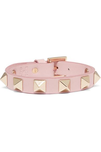 Valentino - Rockstud Leather Bracelet - Baby pink