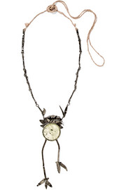 Oxidized silver-plated crystal necklace