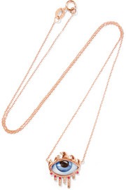 14-karat rose gold, diamond, ruby and enamel necklace