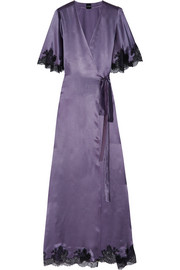 Déshabillé lace-trimmed silk-satin robe