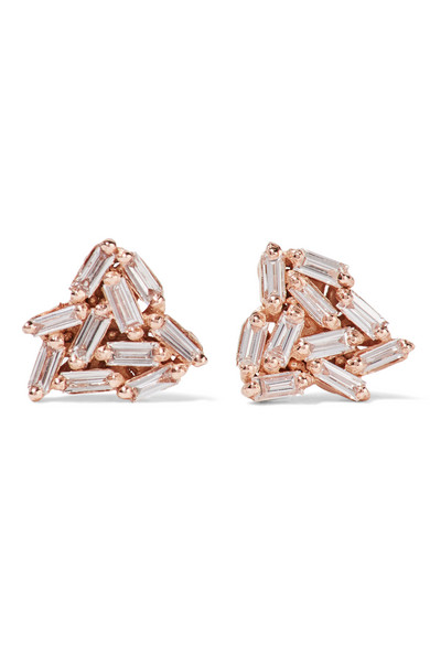 Suzanne Kalan - 18-karat Rose Gold Diamond Earrings