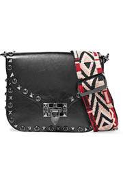 The Rockstud glossed textured-leather shoulder bag