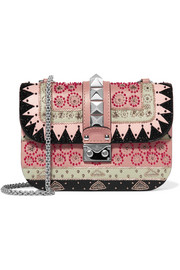 Lock medium embellished leather shoulder bag