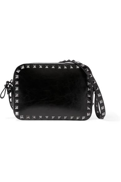 Valentino - The Rockstud Patent-leather Shoulder Bag - Black