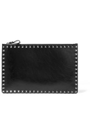 Valentino The Rockstud cracked glossed-leather pouch