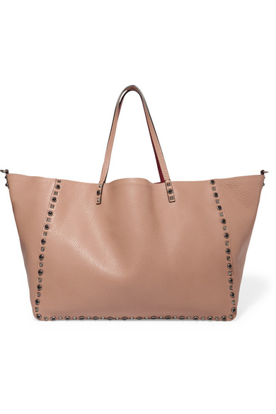 Valentino - The Rockstud Reversible Embellished Textured-leather Tote - Blush
