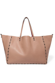 Valentino The Rockstud reversible embellished textured-leather tote