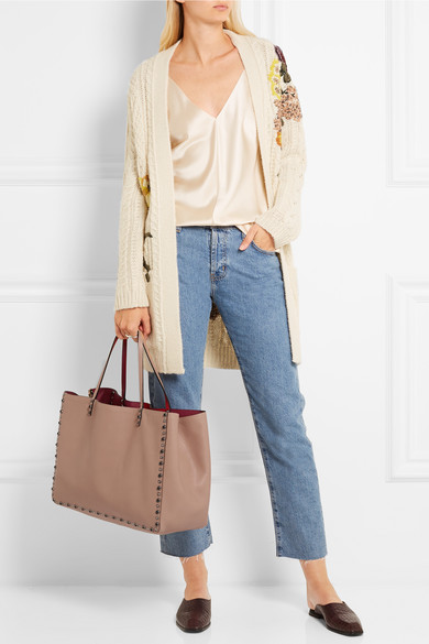 f4b11ffb5793 The Rockstud reversible embellished textured-leather tote