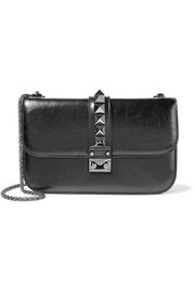 Lock medium cracked-leather shoulder bag