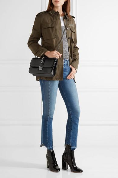 valentino lock medium cracked leather shoulder bag net a porter com. Black Bedroom Furniture Sets. Home Design Ideas