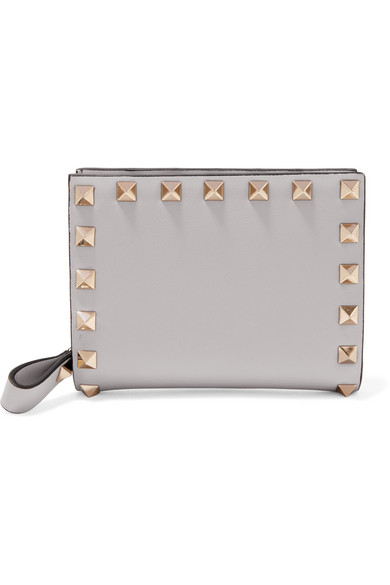 Valentino - The Rockstud Leather Wallet - Light gray