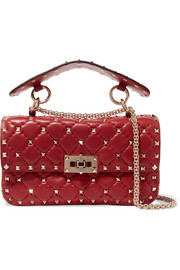 Rockstud small matelassé leather shoulder bag