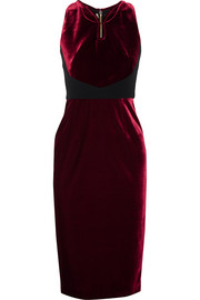 Mennan crepe-paneled velvet dress
