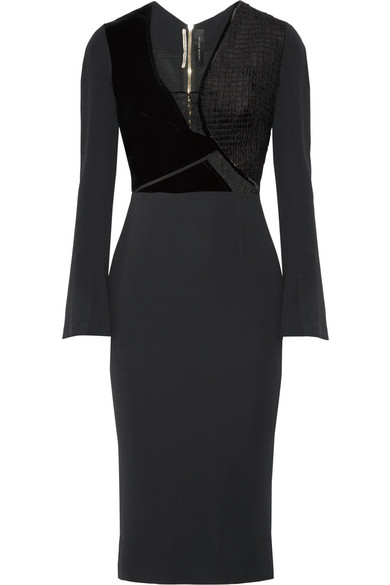 Roland Mouret - Velvet And Guipure Lace-trimmed Crepe Dress - Black