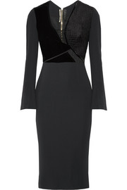 Roland Mouret Velvet and guipure lace-trimmed crepe dress