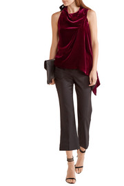Colridge asymmetric lace-trimmed velvet top