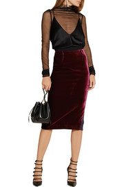 Arreton velvet and stretch-cady pencil skirt