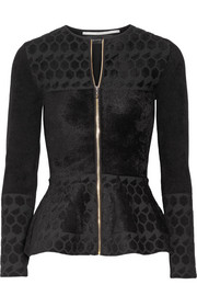 Textured jacquard-knit peplum jacket