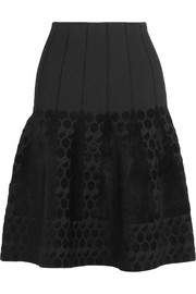 Flocked bonded stretch-jersey skirt