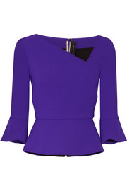 Asymmetric wool-crepe peplum top