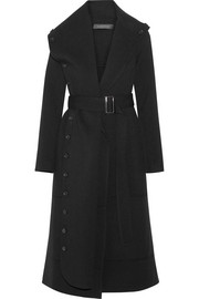 Roland Mouret Harper belted draped wool-twill coat
