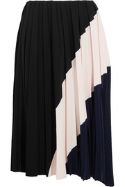 Color-block pleated crepe midi skirt