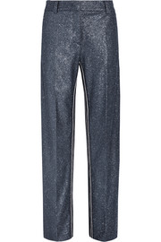 Glittered crepe wide-leg pants