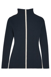 Cédric Charlier Canvas-trimmed ribbed wool-blend turtleneck sweater