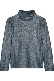 Cédric Charlier Glittered stretch-jersey top