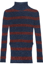 Cédric Charlier Striped metallic ribbed-knit turtleneck sweater