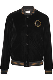 Palladium embellished embroidered velvet bomber jacket