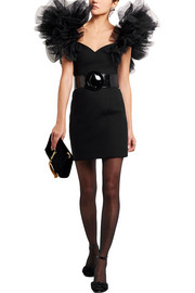 Saint Laurent Tulle-trimmed wool-crepe mini dress