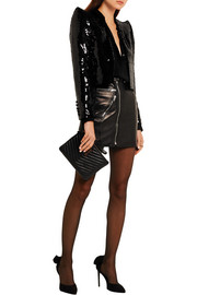 Cropped sequined crepe jacket