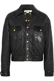 Python-trimmed quilted leather jacket
