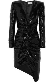 Saint Laurent Sequined silk-satin mini dress