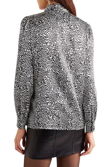 7ebee0f84a5 SAINT LAURENT | Pussy-bow leopard-print silk-satin blouse | NET-A ...