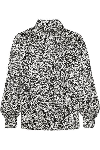 Saint Laurent - Pussy-bow Leopard-print Silk-satin Blouse - Black