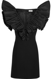 Saint Laurent Ruffled silk-faille and wool-crepe mini dress