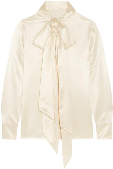 Saint Laurent - Pussy-bow Silk-satin Blouse - Ivory
