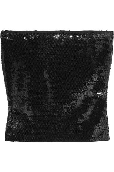 Saint Laurent - Cropped Sequined Jersey Top - Black