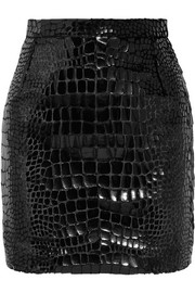 Saint Laurent Croc-effect faux leather and velvet mini skirt