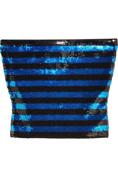 Saint Laurent - Cropped Sequined Jersey Top - Blue