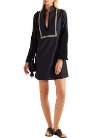 Thecla velvet and jacquard-paneled wool-blend mini dress