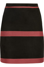 Zephyr embroidered suede mini skirt