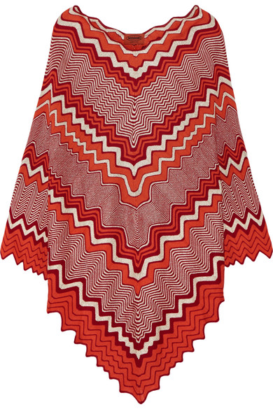 missoni female 240769 missoni metallic crochetknit poncho orange