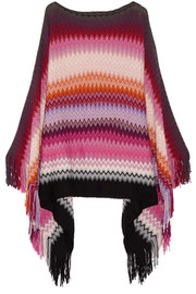 Fringed wool-blend crochet-knit poncho