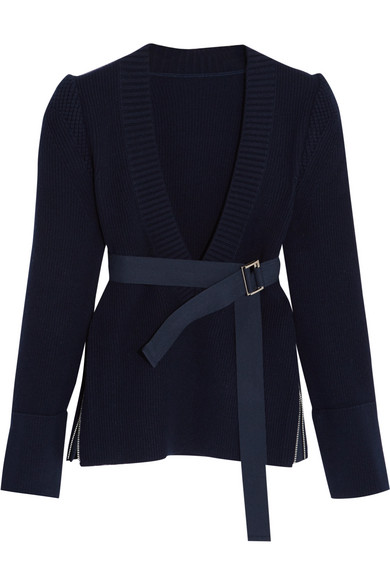 Sacai - Belted Ribbed Wool Sweater - Navy